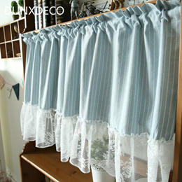 DUNXDECO Short Curtain For Kitchen Door Half Cortinas Simple Blue White Stripe Lace Border Fresh Cot