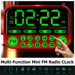 Elderly Friendly Big Display Multi-Function Portable Mini FM Radio Speaker Clock Alarm Torch Parents