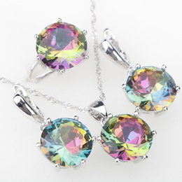 Rainbow CZ Stones Silver 925 Costume Jewelry Sets Women s Rings Earrings Pendant Necklace Year
