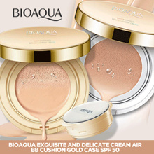 Bioaqua Exquisite and Delicate Cream Air BB Cushion Gold Case SPF 50 //  Case + Refill