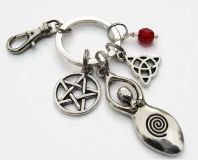 Personalized Goddess Keychain Personalized Zipper Pull Witch Accessory Pentacle Keychain Lanyard