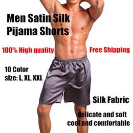 e119911e2086 Pajamas Casual Loose Men Satin Silk Pijama Shorts Sleepwear Soft Underwear  Pants Nightwear
