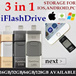 iFlash Drive 128/64/32GB For IOS/PC 3-In-1 ! DM Brand OTG / Micro USB / OTG / Thumb Drive / Backup / Restore/ Storage Memory Flash / Micro SD / For Android/ Ios iPhone PC