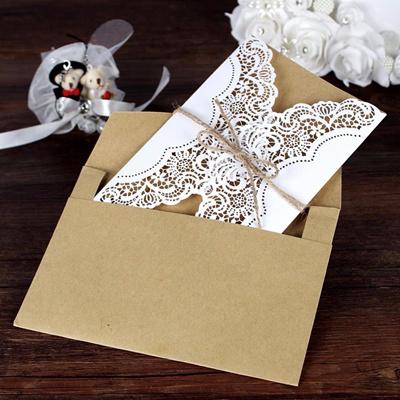 30pcs Set Luxury Laser Cut Printable Wedding Invitations Cards Envelope Elegant Birthday Greeting Ca