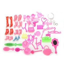 50 Pcs Doll Accessories Shoes Bag Mirror Hanger Comb Bracelet For Barbie Dolls