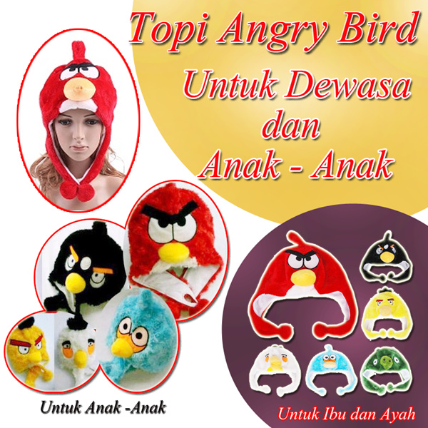 Angry Bird Hat for Mommy/Daddy and for Kids Deals for only Rp46.000 instead of Rp46.000