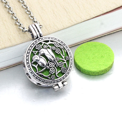 Silver Locket Necklace Fragrance Essential Oil Aromatherapy Diffuser Pendant JP