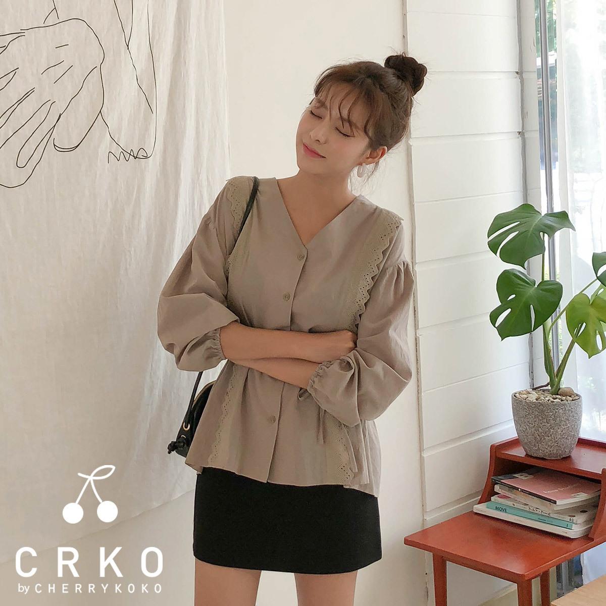 [CHERRYKOKO官方旗艦店]抓皺蕾絲綁帶上衣
