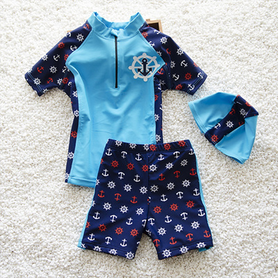 Qoo10 Children Swimming Costume Boy Swimwear Navy Style 2 Pieces