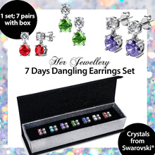 Embellished with Crystals from Swarovski® - 7 Days Dangling Earrings Set
