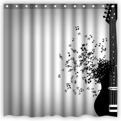 Shower Curtain Fantasy Art Flying Musical Notes Black Guitar Waterproof Polyester Bathroom Decorativ