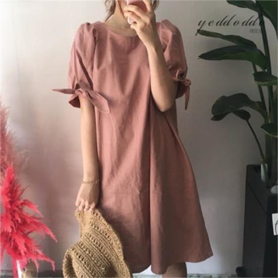 はいトト行き来するようにはいトトリンネン小売ワンピース プリントのワンピース/ 韓国ファッション