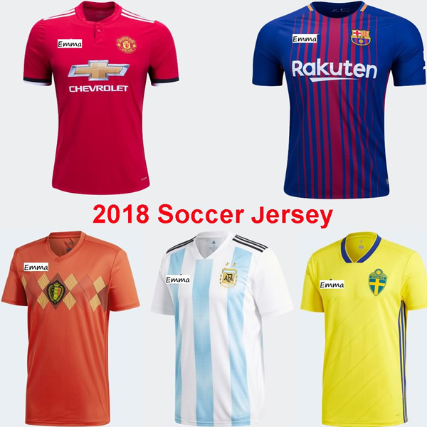 hot sale online aa041 d13b3 17-18 Soccer Jersey Home Away 3rd Barcelona 2018 World Cup Manchester  United Germany Football Shirts
