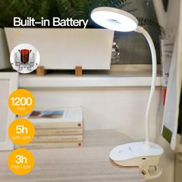 YAGE 18650 LED Touch On/off Switch 3 Modes Clip Desk Lamp 7000K Eye Protection Desk Light