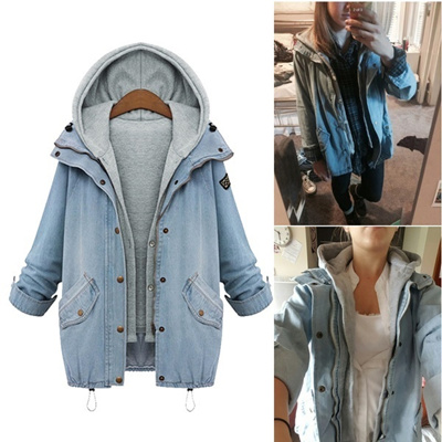 7aa3330dada0 Spring Autumn Women Two Piece Hooded Jeans Jacket Suit Plus Size Casual  Denim Coat + Sweatshirt
