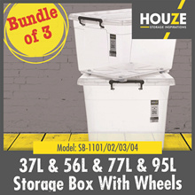 Bundle Of 3 ♦ Storage Boxes W Wheels Collection ♦ 37L  - 95L Capacity ♦ Strong And Durable ♦