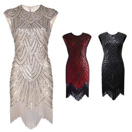 2d6099a07c8 1920s Gatsby Charleston Sequin White Bead Fringe Flapper Dress Vestido Robe  Double V-Neck Sleeveless Tiered Tassel Party Dress