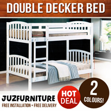 ~~Stable White Double Decker Bed for Sale!~~Made of Tough Solid rubber wood.~~