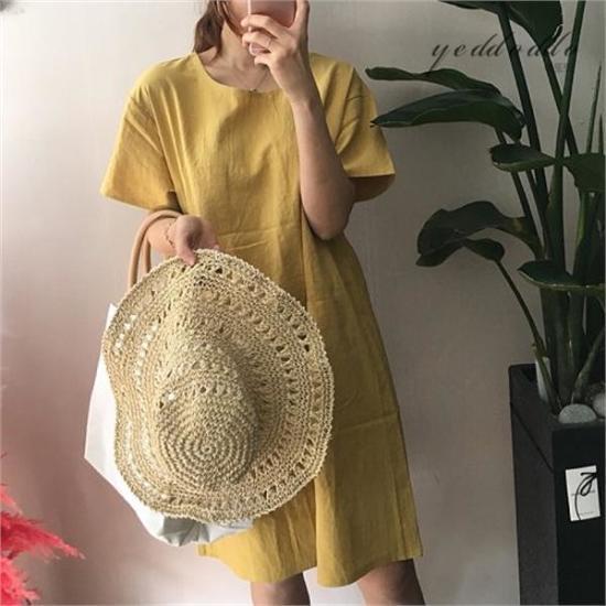 はいトト行き来するようにはいトトリンネンヤンポケットワンピース プリントのワンピース/ 韓国ファッション