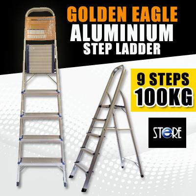 Golden Eagle Domestic Family Aluminium Steps Ladder (3-8 Steps) and Genie  Domestic Aluminium Step Ladder Duty Rating 100kg (9 Steps)
