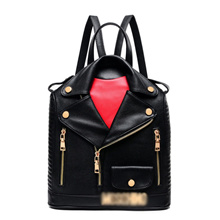 7e879cc88bea Quick View Window OpenWishAdd to Cart. rate 0. Fashion Letter Small Backpack  Locomotive Backpack Lapel Leather Personality Women Bag ...