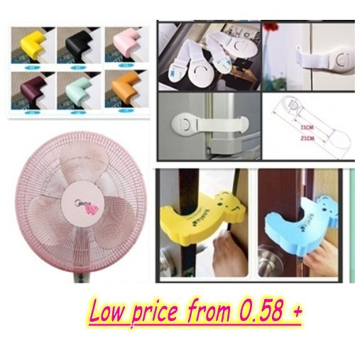 Kid's Safety Products/Fan Protection Cover /Safety Lock/ Cabinet Lock/ Drawer Lock/Door Stopper /LED Deals for only S$1.8 instead of S$0
