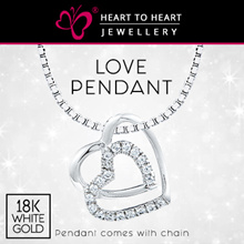 18K White Gold plated Anti-tarnish Silver Love Pendant with Fine Cut Simulated Diamonds! TSP0265S