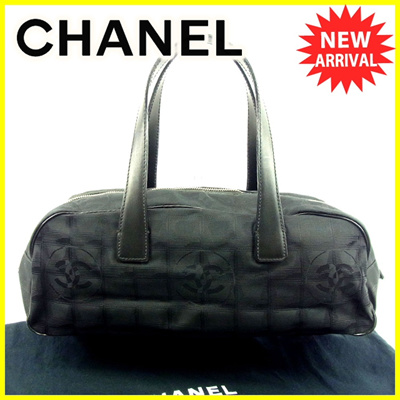ae1b4ad76171 Chanel CHANEL Handbag Mini Boston Bag Women's New Travel Line Black Canvas  × Leather Vintage Popular