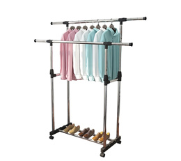 Hanger Hooks/ Coat Clothes Hat Stand/ Clothes Drying Rack/ Indoor Extendable Standing Dual Pole