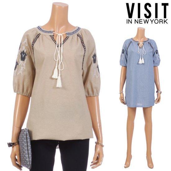 ・ビジット・インニューヨーク手術エスニック・刺繍ワンピースVTEOP23 面ワンピース/ 韓国ファッション