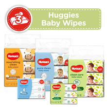 [HUGGIES] Baby Wipes - Clean Care (3x80s/3x20s) Pure Clean (3x64s/3x16s) Nourishing Clean (3x72)