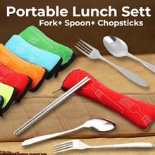 Set alat makan + pouch / sendok + garpu + sumpit stainles paket travel