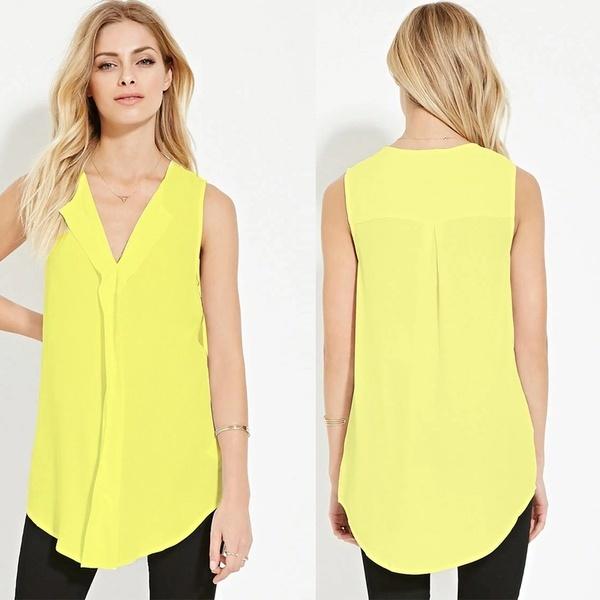 プラスサイズS-XXXXL 5XL 6XL新しいファッション2017夏の女性ノースリーブブラックイエローシフォンTシャツ