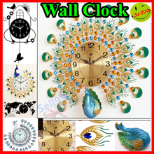★♛ 【3D Iron Aart Wall Clock 】★ Wall clocks with neon lights good for home decoration
