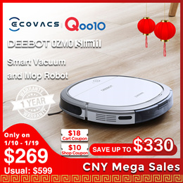 ECOVACS DEEBOT OZMO Slim11 /Robot Vacuum Cleaner OZMO™Mopping Technology  with 1 Year Local Warranty