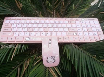 caf7e625520 Cute Hello kitty slim wireless keyboard and wireless mouse and keyboard set  cartoon mouse pad to