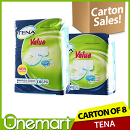 [TENA] [Carton Sale] 8 x Adult Diapers Size M 12s/Size L 10s