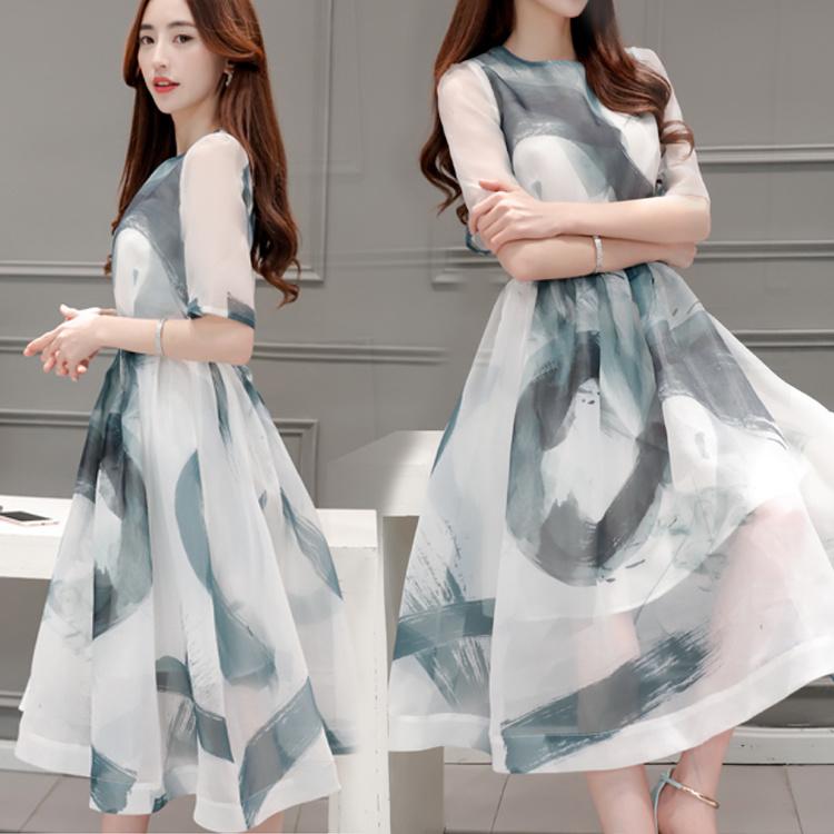 2色 上品 エレガンス ワンピース♪ドレス 花柄 ワンピ パーティー 結婚式 お呼ばれ 二次会 通勤 同窓会 普段着 大人 美人 韓国ファッション