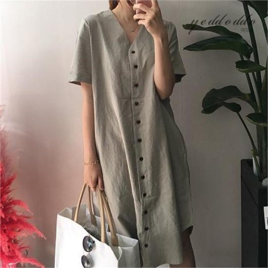 はいトト行き来するようにはいトトボタンリンネンワンピース プリントのワンピース/ 韓国ファッション