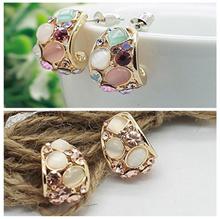 1Pair Party Jewelry Women Ear Stud Crystal Earring Opal Stone