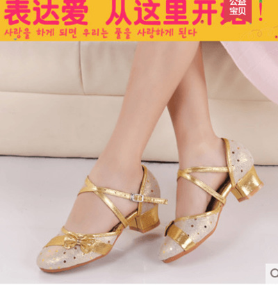 9d814d3d854 Childrens Latin dance shoes Girls High-heeled Just Female Performance Dance  Shoes Soft bottom With