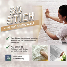 3D STICK-ON DIY Brick Real Foam Decor Sticker Balcony StickerBalcony Wallpaper TV Interior Peel