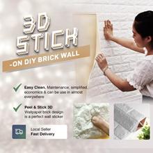 3D STICK-ON DIY Brick Real Foam Decor Sticker Balcony StickerBalcony Wallpaper TV Interior Peel