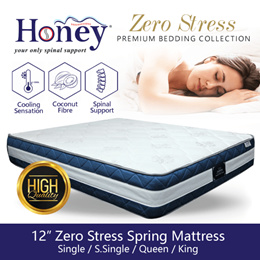 12inch Zero Stress Spring Mattress / coconut fibre / spinal support (All sizes)