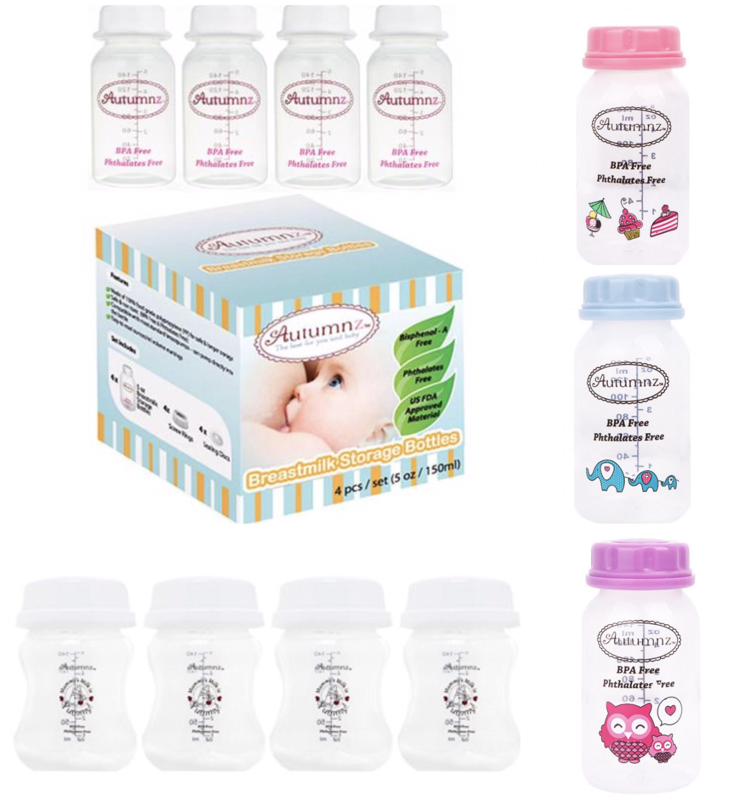 Qoo10 Breast Milk Bottles Baby Maternity Wide Neck Options Bottle Soother Gift Set Blue Pink Actual Size