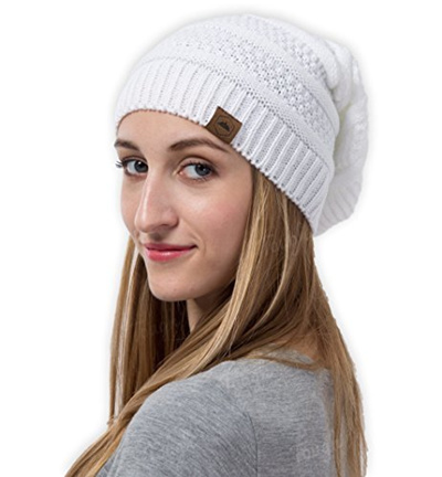 Slouchy Cable Knit Beanie by Tough Headwear - Chunky Oversized Beanie Hats  Serious Beanie Hats for 3b0344c0929