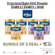 [BUNDLE OF 3 + FREE Shipping] Friso Gold Baby Milk Powder 900g (Stage 3-4) | Exp:2020