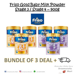 [BUNDLE OF 3 + FREE Gift] Friso Gold Baby Milk Powder 900g Stage 3-4 | Exp: 2020