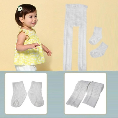 25d7bbf74f05c Baby Tights Kids Solid Color Tights Cotton Newborn Baby Leggings with Socks  Set