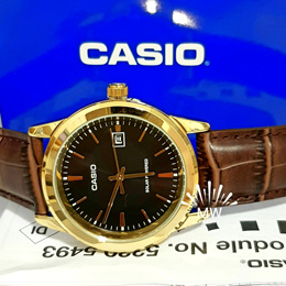 Casio MTP-VS01GL-1A Mens Standard Gold Tone Solar Leather Band Black Dial Date